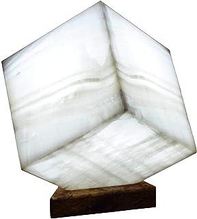 """Lampada a cubo 20cmx20cm in marmo di onice """"Blanco San Luis"""""""