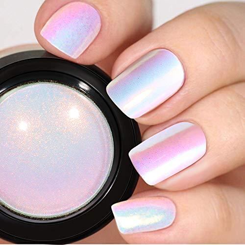 PrettyDiva Unicorn Nail Powder - Indigo Mermaid Nails Powder Aurora Nail Pigment, Neon Iridescent Mica Powder Chrome Nails Powder for Nail Art