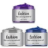 3 Pack Unisex Multi-Color Temporary Modeling Fashion DIY Hair Color Wax Mud Hair Dye Cream (Gray Blue Purple)