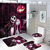 The Nightmare Before Christmas Shower Curtain Set with Non-Slip Rug,Toilet Lid Cover and Bath Mat,Jack Skellington Shower Curtain with 12 Hooks,Waterproof Bathroom Decor Curtains(4PCS)