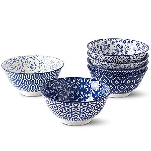 Selamica Blue and White Porcelain 20oz Bowls Set - Set of 6, 6 inch ceramic bowls for Cereal, Soup, Salad and Pasta, Vintage Blue, Gift Pack