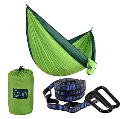 "Esup Camping Hammock -Multifunctional Lightweight Nylon Portable Hammock, Best Parachute Hammock for Backpacking, Camping, Travel(Fruit Green/Dark Green, 108""(L) x 55""(W))"