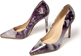 Women's Classic Fashion Stiletto Pointed Toe 10 cm Fashion Pointed Marbled Stiletto Heel Shallow Mouth Spring and Autumn O...