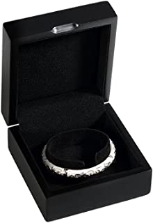 TEEMING Wooden Decorative Jewelry Gift Boxes with Velvet Interior for Bracelet,Black