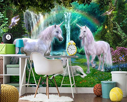 Behang muurschildering groen bos regenboog gras wit paard kamer achtergrond muur eenhoorn muurschildering (H)400*(B)280cm Pro
