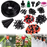 Garden Irrigation System, 156Pcs Automatic Garden Watering System with Adjustable Dripper 82ft 1/4' Blank Distribution Tubing Hose Drip Irrigation Kit for Greenhouse, Garden, Flower Bed,Patio,Lawn