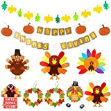 10 Sets Thanksgiving Turkey Craft Kits DIY Festive Fall Bunting...
