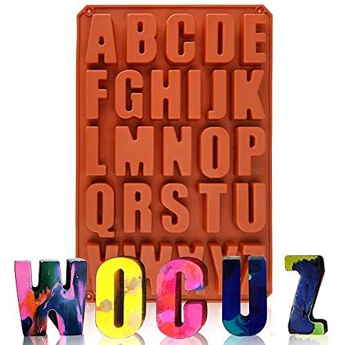 Wocuz 26 Cavities Crayon Letter Silicone Mold Large Alphabet Chocolate Baking Mold Abc Resin Mold Cake Pan Handmade Soap Mold for Biscuit Ice Cube Tray DIY Jesmonite