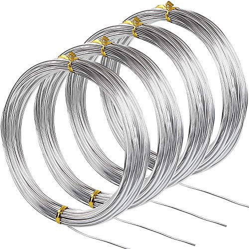 Silver Aluminum Wire 1.5mm Metal Craft Armature Wire 16 Gauge Bendable Metal Wire for Making Beading Jewelry Craft Dolls Skeleton DIY Crafts (4 Rolls, Total 131.2Ft)