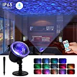 Night Light Projector Lights for Halloween, Ocean Wave Projector Light with Ripple RGB 3D Water Effect, Remote Control Nursery Lamp Waterproof for Bedroom Garden Wedding Party Disco
