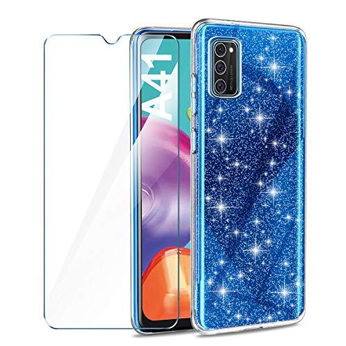 AROYI Hülle Kompatibel mit Samsung Galaxy A41 Und Panzerglas, Handyhülle Hülle Liquid Transparent Glitzer Slim Glitzer Anti Gelb Soft Silikon dünn Hülle Kompatibel mit Samsung Galaxy A41
