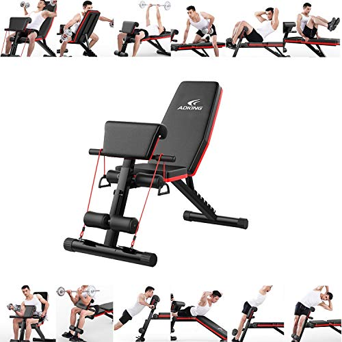 SAQIMA Multifunctional Home Gym Adjustable Weight Bench Foldable Workout Bench Adjustable Sit Up AB Incline Abs Bench Flat Fly Press Fitness RopeWeight Press Fitness
