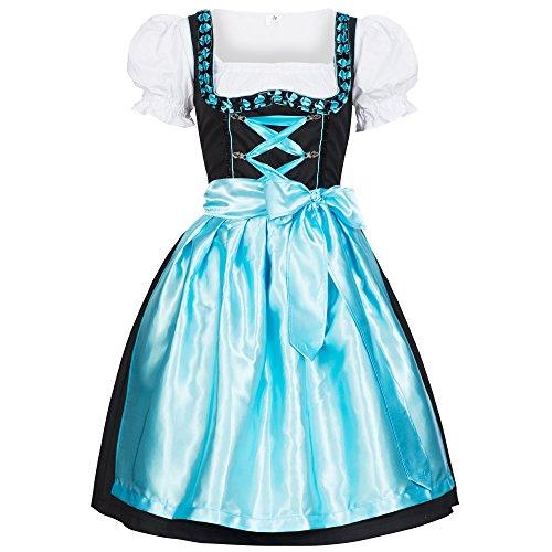Gaudi-Leathers Dames Duitse Dirndl Jurk Iwona Lichtblauwe Kostuums voor Beierse Oktoberfest Carnaval Halloween