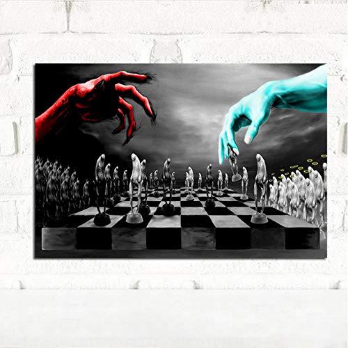 Ölgemälde Gut Und Böse Schach Poster Und Drucke Leinwand Gemälde Nordic Schwarz Und Weiß Wandbild Für Kinderzimmer Dekoration-60cmx70cm