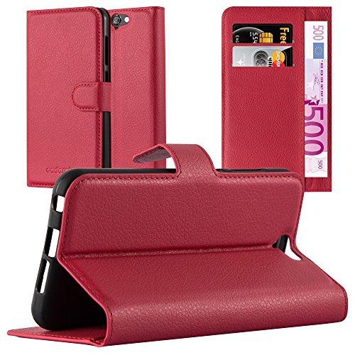 Cadorabo Hülle für HTC ONE A9 - Hülle in Karmin ROT – Handyhülle mit Kartenfach & Standfunktion - Hülle Cover Schutzhülle Etui Tasche Book Klapp Style