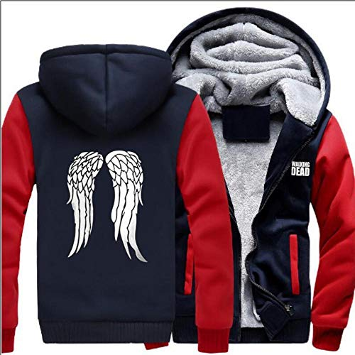 Unisexhoodie The Walking Dead Plus Velvet Padded Cardigan Warm Sweatshirts Jacken-Winter-eindickung Lose Zipper Strickjacke Mit Kapuze Strickjacke,B-S