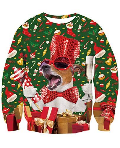 NEWISTAR Unsiex Weihnachten Pullover Lustige 3D Gedruckt Langarm Weihnachten Jumper Weihnachtspulli Ugly Christmas Pullover Tops