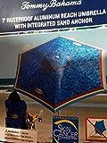 Tommy Bahama 2020 Sand Anchor 7 Feet Beach Umbrella with Tilt and Telescoping Pole (Blue Leaves)