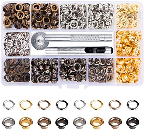 Metal Grommet Kit 3/16 inch 400Pcs Grommets Eyelets Sets with 3 Pieces Install Tool Kit and Box for Shoes Clothes Crafts Bag DIY Project (5mm 4 Colors)