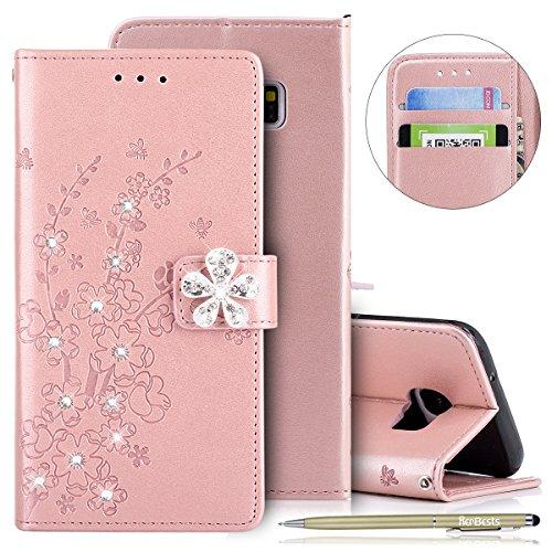 Herbests Cover Samsung Galaxy S7 Edge, Custodia Samsung Galaxy S7 Edge Portafoglio Pelle Flip Stand Case Cover con Porta Carte Slots con Glitter Strass Diamante Goffratura Fiore di Prugna Case