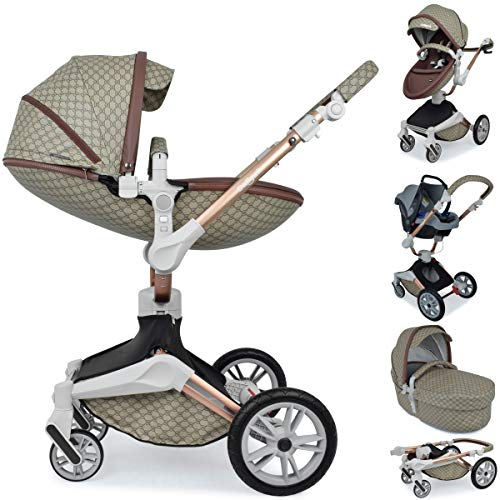 Daliya ® 3in1 360° Turniyo Kinderwagen Kombikinderwagen Buggy mit Babywanne, Sportsitz & Cariyo Babyschale, Aluminium Rahmen (3in1, Braun mit Motiv)