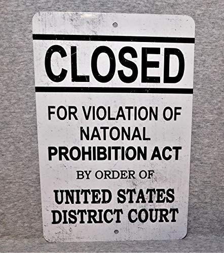 Sp567encer Metal Sign VERBOT wet alcoholverbod gesloten bar taverne Pub Decor Becirkale gerechten verboden alcoholische dranken 1920 replica