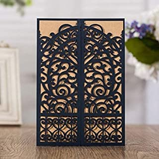 WISHMADE 50 Blue Laser Cut Gate Fold Invites Kit for Wedding Engagement Graduation Birthday Party Housewarming Quincenera Paraboda, Printable Invitation with Envelops AW7075
