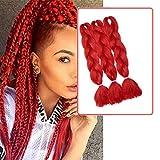 Ombre Braiding Hair Extensions Flechthaar Jumbo Zöpfe Haar Synthetische Haarverlängerung Braids Haarteil 24 inch (60 cm) 300g / 3Pcs Rot