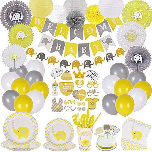 Baby Shower Decorations and Tableware Set | Serves 25 | Girl & Boy Neutral Gender Reveal Party Supplies | Yellow and Grey Baby Elephant Theme| Balloons, Banners Plates, Napkins, Props and much more – RSA Products