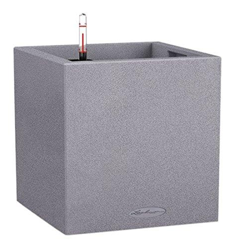 Lechuza CANTO Stone low 30, steingrau, Hochwertiger Kunststoff, Inkl. Bewässerungssystem, Herausnehmbarer Pflanzeinsatz, für Innen- und Außenbereich, 13700