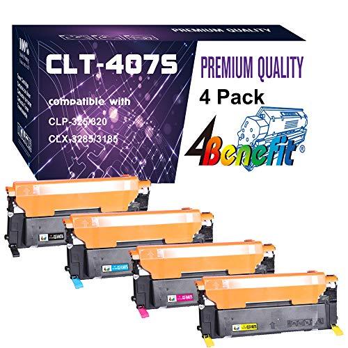 4-Pack (1BK+CYM) Compatible CLT-407S CLT-K407S C407S M407S Y407S Toner Cartridge Used for CLX-3185FW 3185N CLP-320N CLP-321N CLP-325W Printer, by 4Benefit