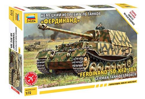 Zvezda 500785041 500785041-1:72 SD.Kfz.184 Ferdinand Tiger Kit de Construction en Plastique pour débutant Camouflage