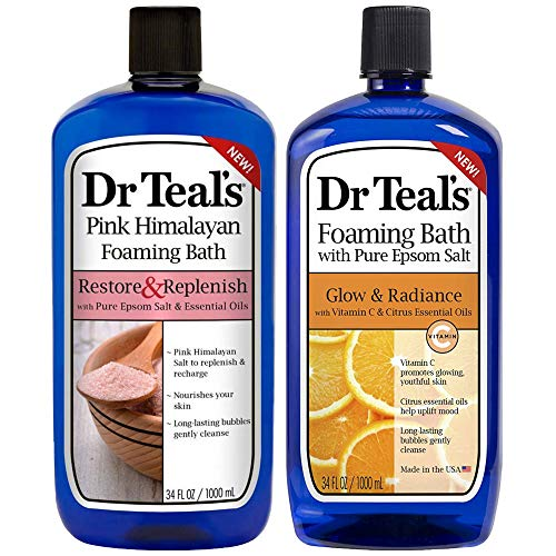 Dr Teal's Foaming Bath Combo Pack (68 fl oz Total), Restore & Replenish with Pink Himalayan, and Glow & Radiance with Vitamin C and Citrus Essential Oils