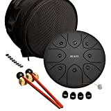MI&VI 2021 Professional Steel Tongue Drum   8 Inch 8 Note Steel Drum Kit   C Major   Tuning Magnets   Percussion Instrument   Handpan Drum   Mallets   Travel Bag  Best Gif - By MIVI Music(Matte Black)