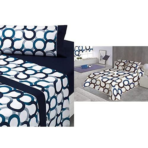 Sabanalia - Juego de sábanas Estampadas Aros (Disponible en Varios tamaños y Colores), Cama 200, Azul + Aros Colcha Estampada, Azul, Cama 200