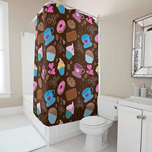 Gamoii Cartoon Nachmittagstee Kuchen Duschvorhang Bad Vorhänge Bedruckt Dusche Vorhang Wasserabweisend Shower Curtains mit Ringe White 200x200cm
