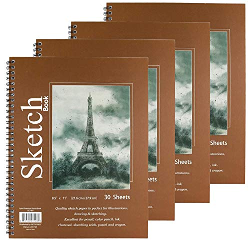 """GIFTEXPRESS Bound Spiral Premium Sketch Book Sketch Pads Set, 4 Pads x30-Sheets, 8.5"""" X 11"""" Side Wire Bound, White 120 Paper Sheets for Pencil Ink Pastel"""