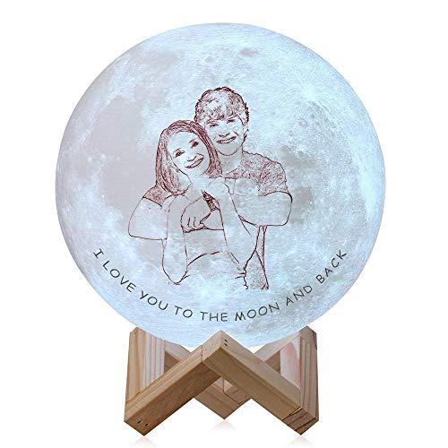 Lámpara de luna impresa personalizada con imagen Palabras de fotos personalizadas Lámpara de luna Luz de luna con soporte Regalo personalizado para niños Regalo de Navidad Lámpara de dormir para niños