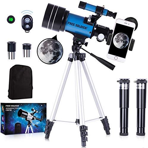 FREE SOLDIER Telescope for Kids&Astronomy Beginners - 70mm Aperture Refractor Telescope for...