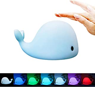 MAGAO LED Nursery Night Lights for Kids, Baby, Adults USB Rechargeable Silicone LED Color Sleep Dolphin Whale Sensitive Tap Control Bedroom 7 Colors Lamp for Kids Multi-Function Mobile Phone Bracket