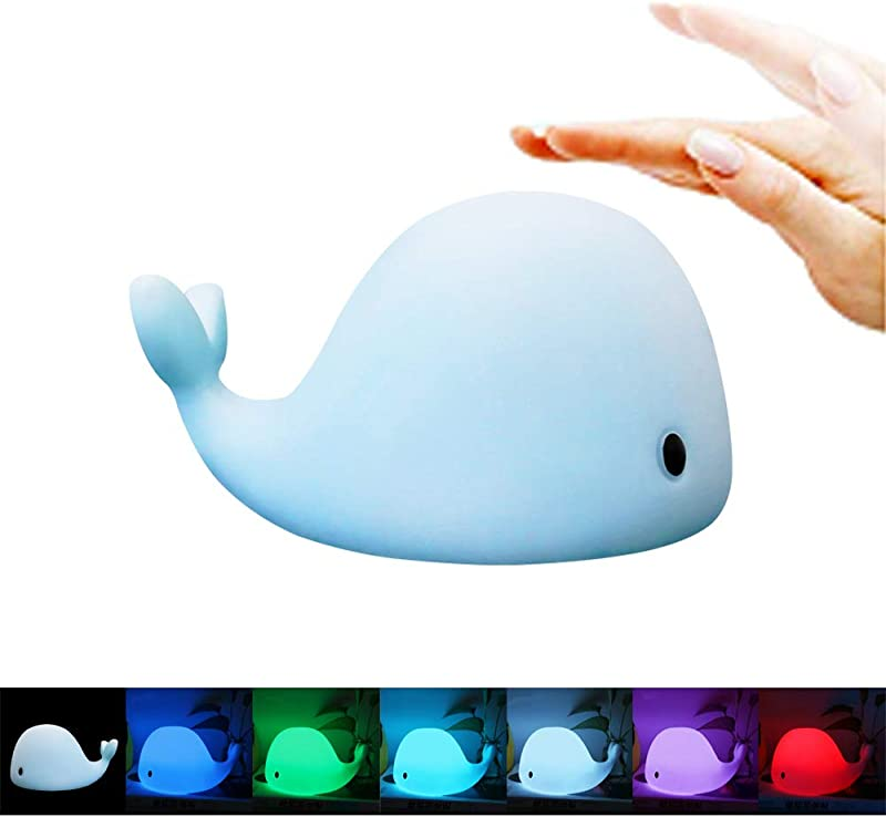 MAGAO LED Nursery Night Lights For Kids Baby Adults USB Rechargeable Silicone LED Color Sleep Dolphin Whale Sensitive Tap Control Bedroom 7 Colors Lamp For Kids Multi Function Mobile Phone Bracket