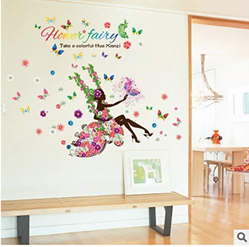 Blume Fee Schaukel Schaukel Wohnzimmer Schlafzimmer Schlafzimmer Hintergrund Wandbild Wandaufkleber 60 * 90cm