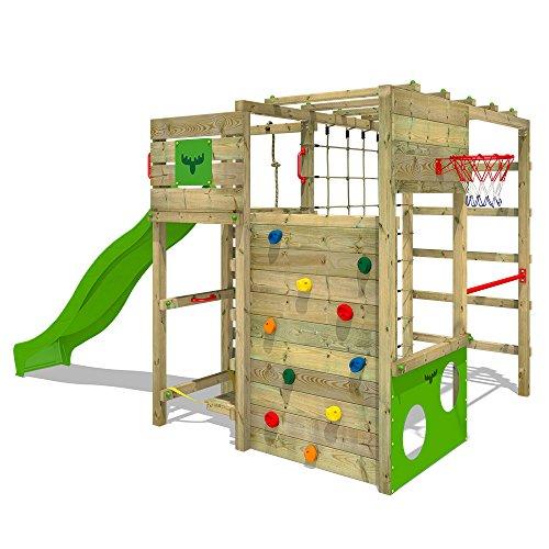 FATMOOSE Klettergerüst Spielturm FitFrame mit apfelgrüner Rutsche, Gartenspielgerät mit Kletterwand & Spiel-Zubehör