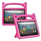 Foluu Funda para Kindle Fire HD 8 y Fire HD 8 Plus (10ª generación, lanzamiento 2020), a prueba de golpes para niños con soporte para Kindle Fire HD 8 2020 (rosa)