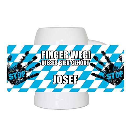 Lustiger Bierkrug mit Namen Josef und schönem Motiv Finger weg! Dieses Bier gehört Josef | Bier-Humpen | Bier-Seidel