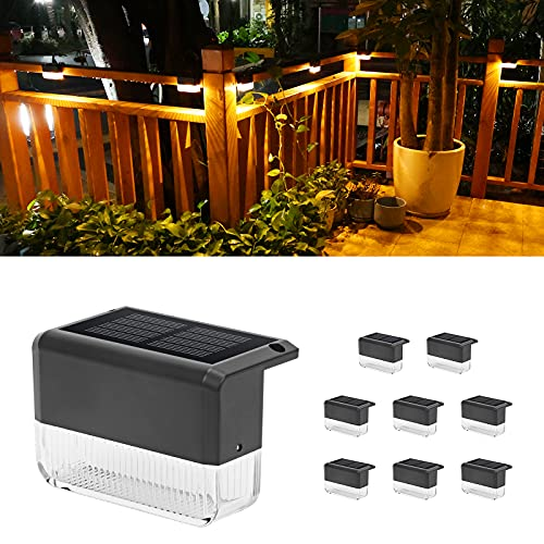 CHINLY Solar Deck Lights 8-Pack Outdoor Waterproof led, Warm White & Color Changing, Fence Post Solar Lights for Stairs, Fence, Deck, Garden, Patio Yard, Porch and Step
