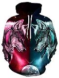 ALISISTER 3D Hoodies Herren Damen Realistisch Galaxis Wolf Muster Kapuzenpullover Pullover Sweatshirt Jugendlichen Mädchen Jungen Streetwear Pullover Hoody XL