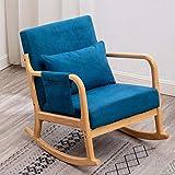 Rocking Chair for Nursery Nursery Chair Modern Rocking Chair Nursery Rocking Chairs with Pillow and Side Storage Pocket (Blue)
