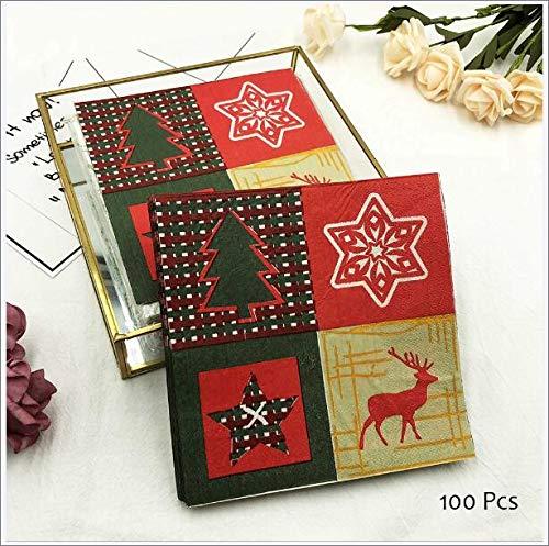 Taschentücher xmas patchwork Weihnachten 1 Packung servietten Muster grün rot Hi