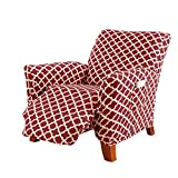 Printed Twill Recliner Slipcover. One Piece Stretch Recliner Cover. Strapless Recliner Cover for Living Room. Fallon Collection Slipcover. (Recliner, Burgundy)
